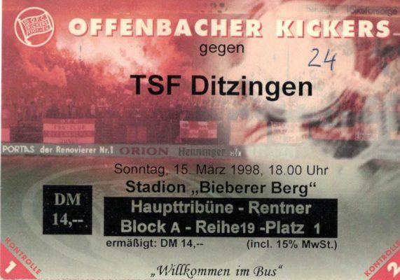Eintrittskarte 15.03.1998 Offenbacher Kickers - TSF Ditzingen