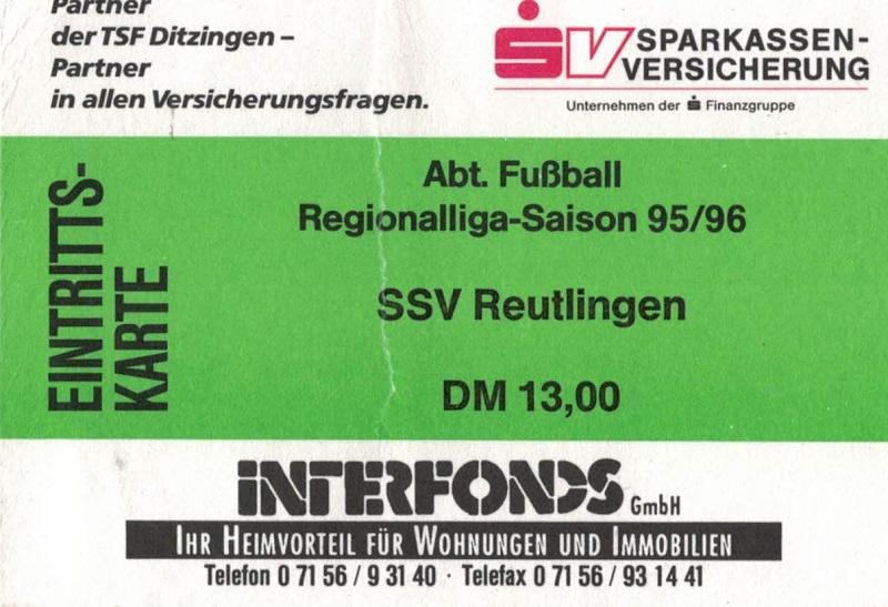 Eintrittskarte 19.05.1996 TSF Ditzingen - SSV Reutlingen
