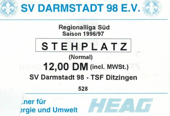 Eintrittskarte 1997-04-27 SV Darmstadt 98 - TSF Ditzingen